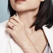 婵娟珠宝 稀有马眼宝石 18K金 马眼形红宝石戒指 彩宝戒 钻石戒指