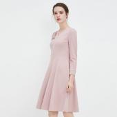 达芙妮 商场同款 V领 钉珠梭织呢 散摆连衣裙