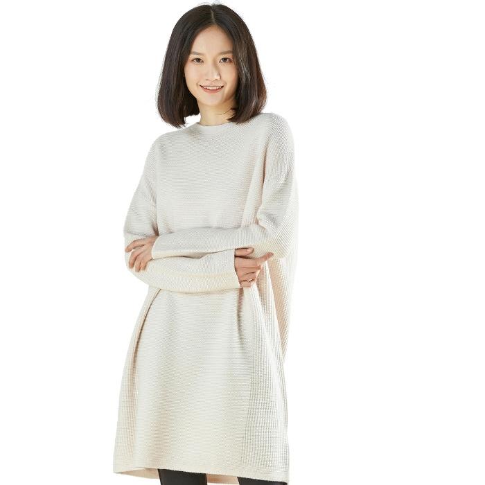 洛诗琳 秋冬新款 简约风圆领 直筒长袖 羊毛针织连衣裙