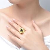 婵娟珠宝 S925 银镶蓝珀花形 琥珀活口戒指