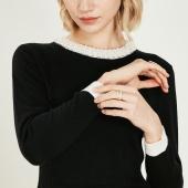 拉夏贝尔 气质百搭 秋季新款 珍珠领 修身针织连衣裙