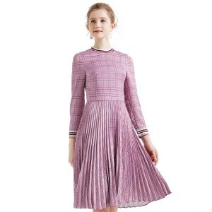 拉谷谷 收腰显瘦 a字裙 中长款 百褶连衣裙