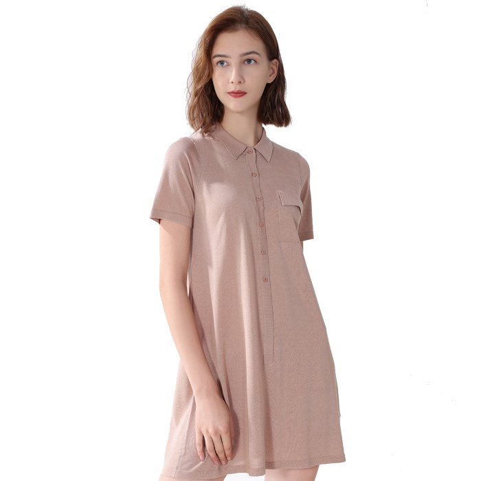 达芙妮 100%桑蚕丝 夏季新款 纯色短袖 简约时尚 桑蚕丝连衣裙