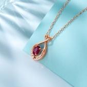 周六福 18K金 红宝石 钻石吊坠 彩宝项银链