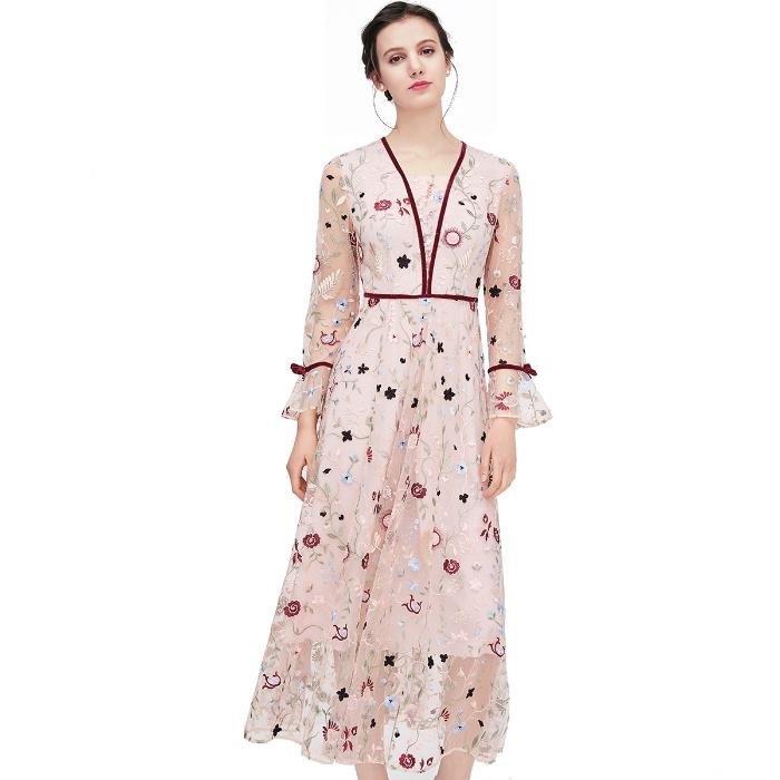 洛诗琳 专柜同款 网纱刺绣拼贴 散口袖连衣裙