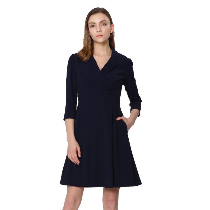 朗姿 三醋纤 七分袖 A字裙 优雅西装V领 收腰连衣裙