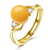 婵娟珠宝 S925 银镶琥珀蜜蜡 开口戒指