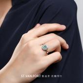 金立福 宴会吸睛款 18K金祖母绿戒指 彩宝戒指 钻石戒指
