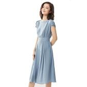 拉夏贝尔 夏季新款 一字领 气质简约 通勤职场干练 雪纺短袖连衣裙
