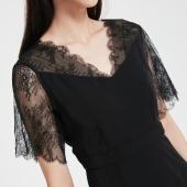 ONLY 夏季新款 优雅V领 收腰优雅 蕾丝镂空中长裙