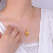 老庙黄金 紫荆花吊坠