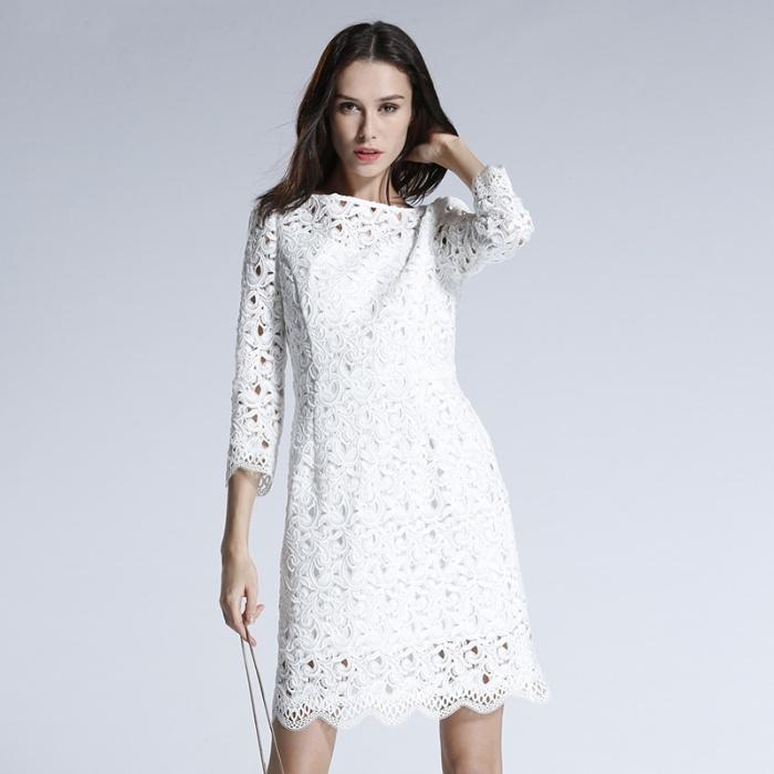 Five Plus 春装气质镂空刺绣连衣裙