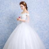 玖世新娘 一字肩齐地礼服
