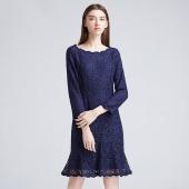 朗姿(LANC) 垂褶波浪连衣裙