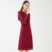 韩都衣舍 时尚修身 纯色气质 蕾丝连衣裙