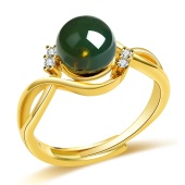 金立福 捡漏惊喜 S925银镶琥珀蓝珀圆珠 活口戒指