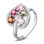 百泰首饰  碧玺戒指 S925银镶宝石戒指 女水晶戒指