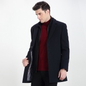 红豆(HODO) 商务修身毛呢大衣