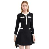 ONLY 春装新款 小香风长袖 法式女人味 复古针织连衣裙